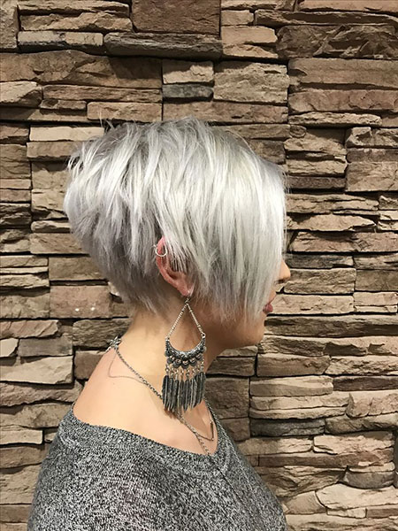 Short Pixie Bob Silver Platinum Long Layered