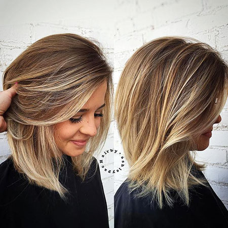 Medium Length Thick Bob Balayage Women Wavy Should Mid Easy Blonde