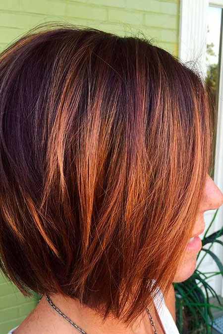 Bob Balayage Stacked Short Sassy Highlights Caramel