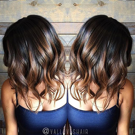 Balayage Shoulder Lob Length Highlights Chunky