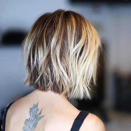 Bob Balayage Tran Thick Short Layers Brown Blunt Blonde
