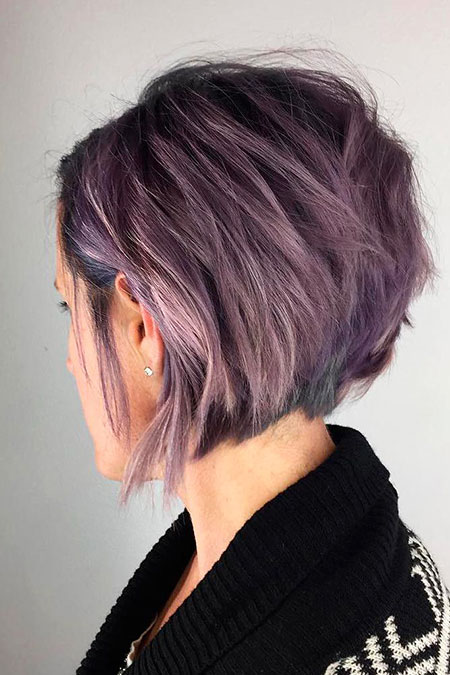 Bob Stacked Purple Trendy Short Sassy Pixie Pastel Messy