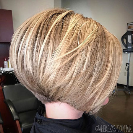 Bob Short Layers Layered Bobs Blonde Stacked Line