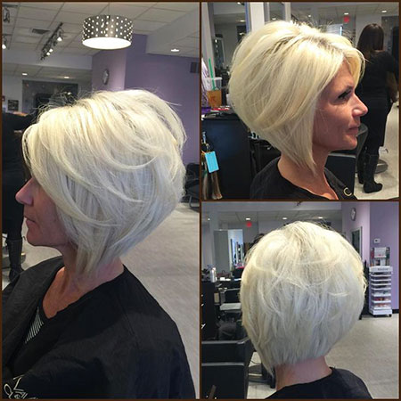 Short Bob Blonde Stacked Platinum Medium Layered