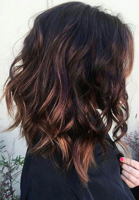 Subtle Short Highlights Brown Balayage Waves