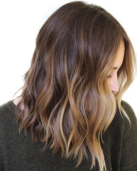 Balayage Choppy Brown Medium Long Light Length Brunette Bronde Bobs Bob