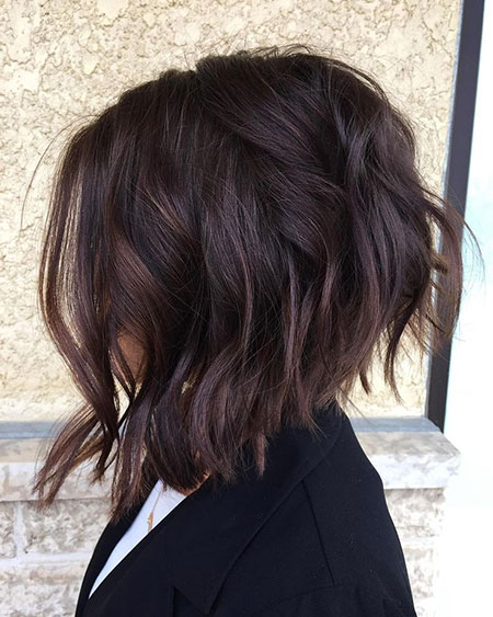 Bob Choppy Balayage Textured Subtle Medium Layered Inverted