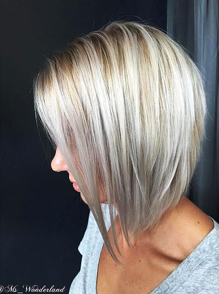Short Bob Platinum Blonde Lowlights Highlights