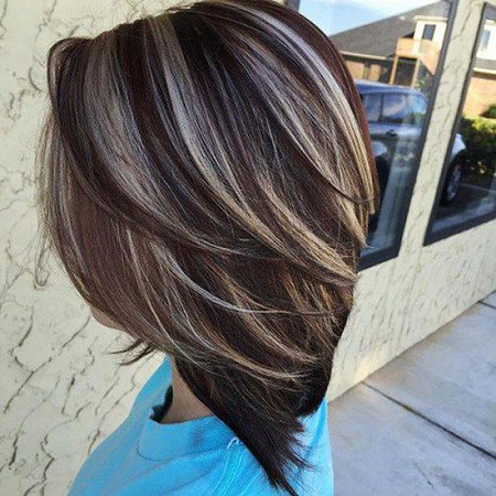 Brown Highlights Black Balayage Inverted Grey Bob