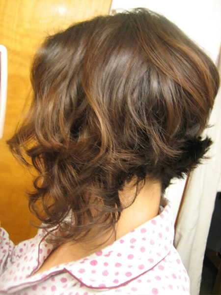 Reverse Bob Updo Round Long Curls Brush