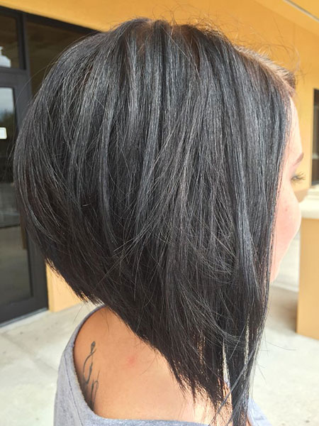 Bob Edgy Short Length Layers Layered Chin Bobs Angled
