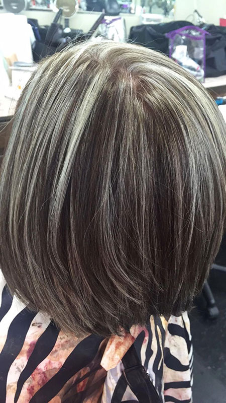 Brown Highlights Bob Layered Grey Silver Lowlights
