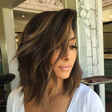 Choppy Balayage Lob Layered Highlights Bob Summer Long