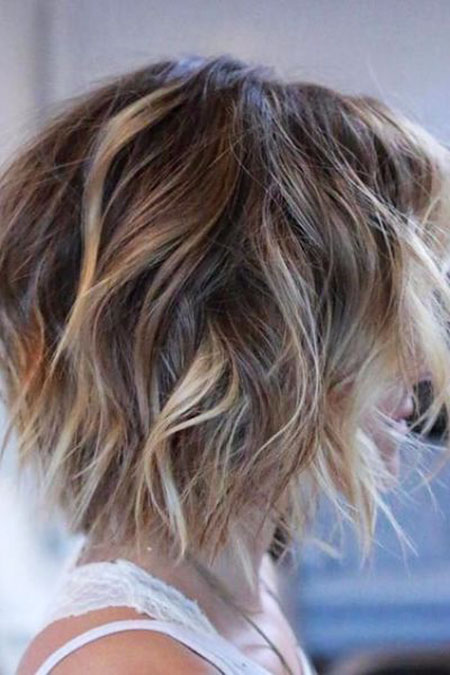 Bob Hairtyle for Thin Hair, Shaggy Hair Balayage Brown