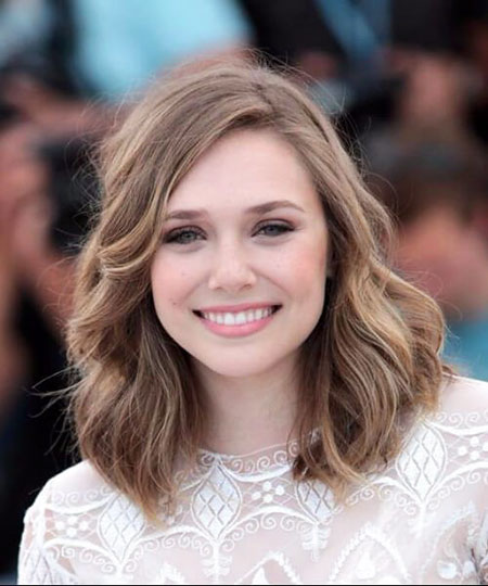 Long Bob Haircut for Round Faces, Wavy Length Olsen Faces