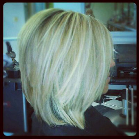 Long Bob with Stacked Layers, Bob Long Stacked Parted