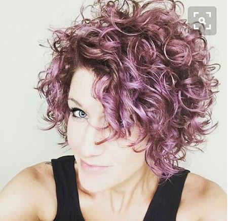 Short Bob Hairtyles for Curly Hair, Curly Short Hair Purple