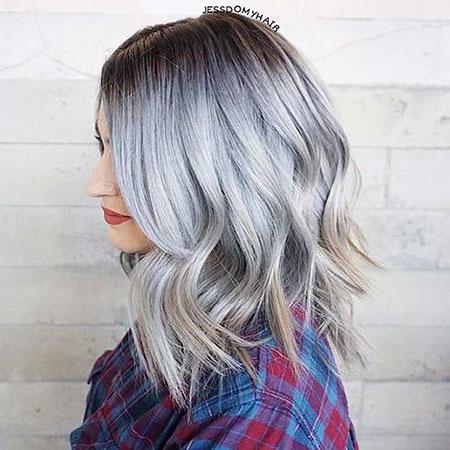 Hair Silver Length Shoulder