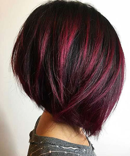 Red Highlights on Black Hair, Bob Balayage Red Choppy
