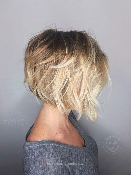 Brunette to Blonde Short Hair, Bob Balayage Blonde Messy