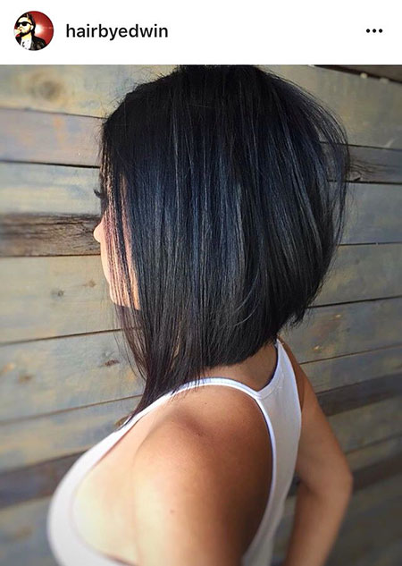 Long Graduated Bob Hairtyle, Bob Length Layered Angled