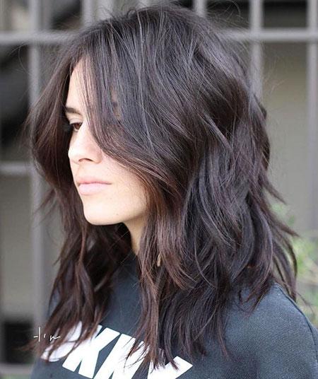 Hair Brown Shag Shoulder