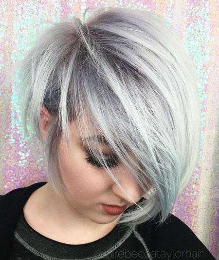 Silver Long Pixie Choppy