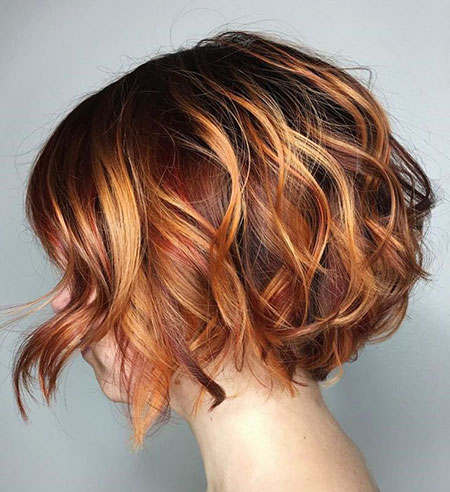 Copper Highlights, Bob Wavy Brown Tone