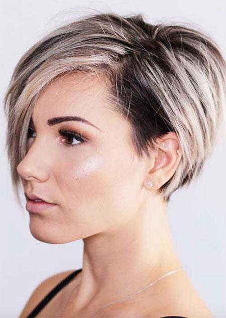 Side Parted, Short Hair Hairtyles Pixie