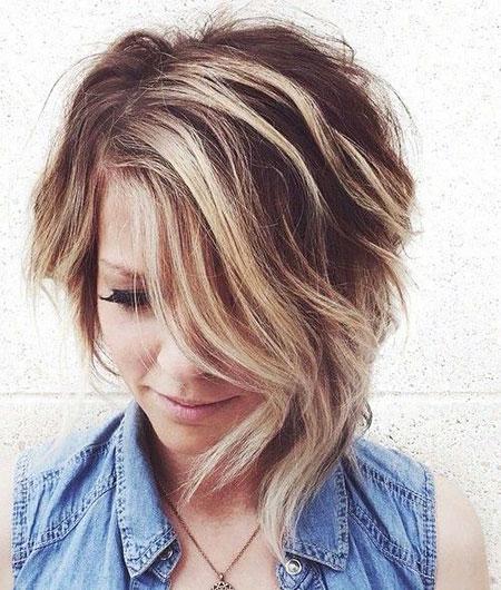 Wavy Hair with Low Lights, Short Asymmetrical Blonde Bob