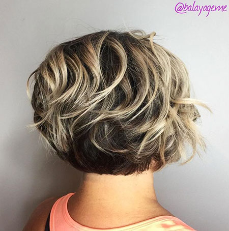 Cute Short Bob, Bob Wavy Blonde Layered