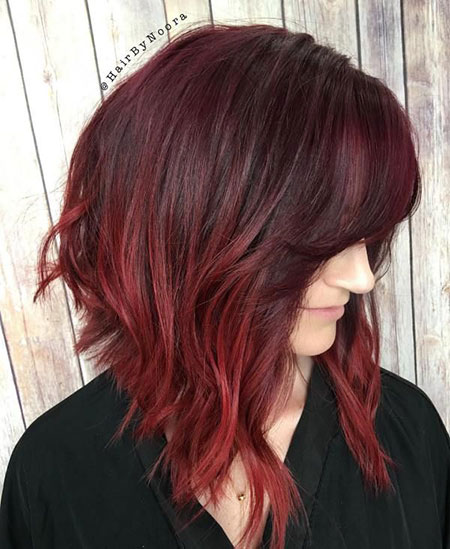 Hair Burgundy Balayage Bob