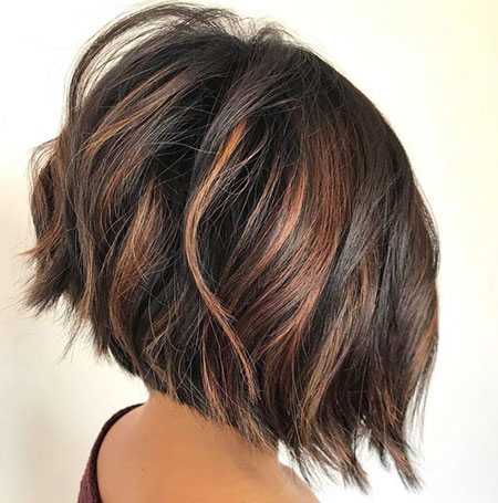 Brown Balayage, Bob Thick Choppy Inverted