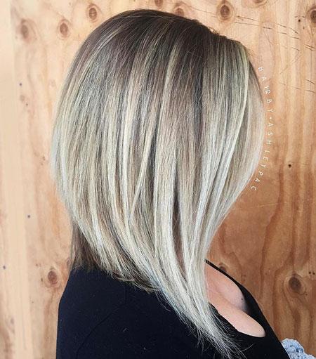 Medium Angled Bob Haircut, Blonde Bob Layered Long