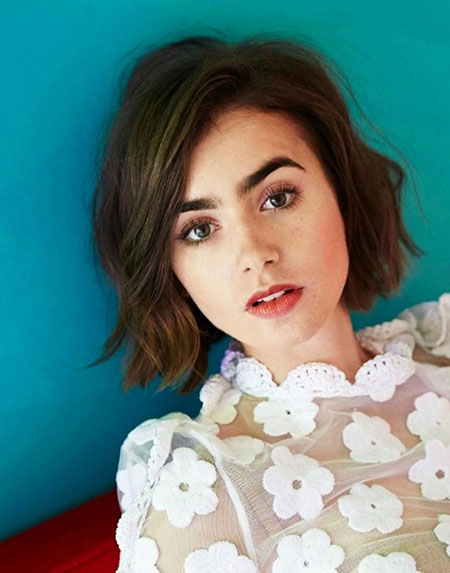 Lily Collins Hair, Bob Chin Blunt Length