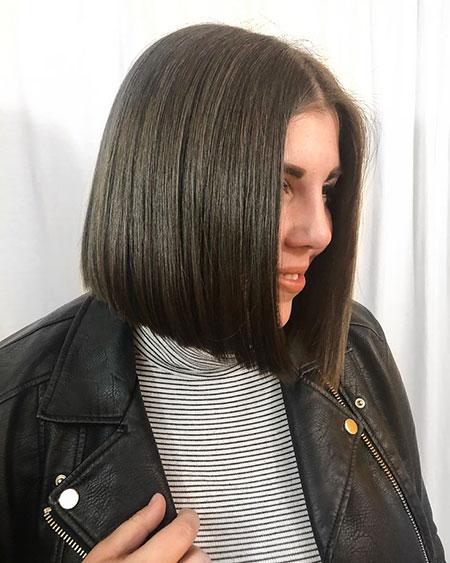 Straight Brunette Bob Hairtyle, Bob Brunette Hair Straight