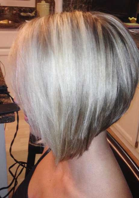 Blonde Layered Angled Bob Hairstyles