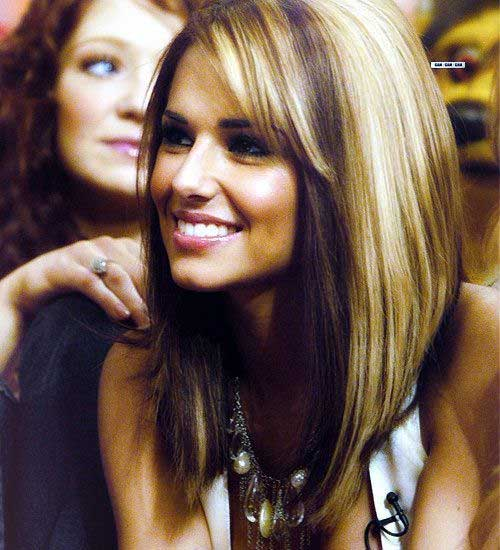 Hairstyles of Two Colored Long Blonde-Brown Angled Bob