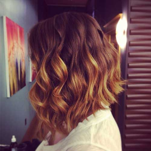 Curly Angled Bobs with Ombre