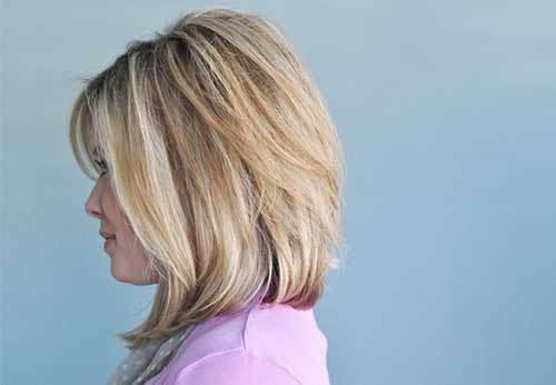 Blondie Highlighted Long Angled Bob Hairstyles