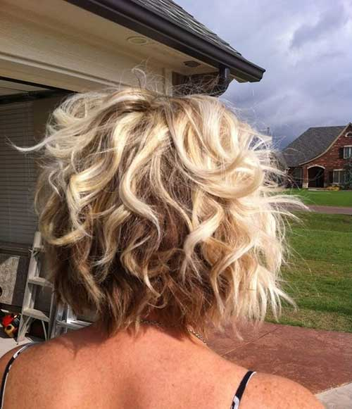 Blonde Curly Inverted Bob