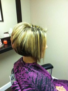 Angled Layered Bob with Highlights and Lowlights