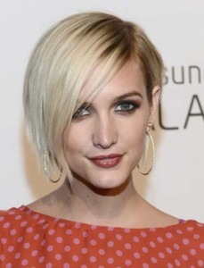 Blonde Asymmetrical Bob Haircuts with Bangs