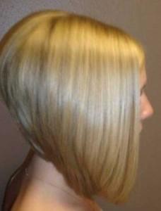 Blonde Inverted Long Bob Back View