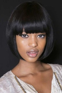 Chic Blunt Bangs on Bob for Black Women