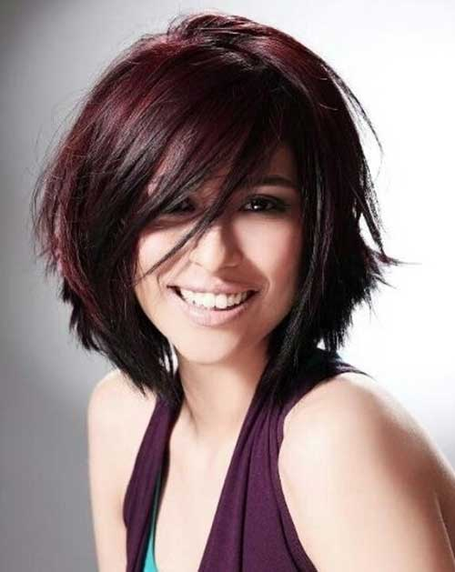 Burgundy Colored Bob Cut for Long Face
