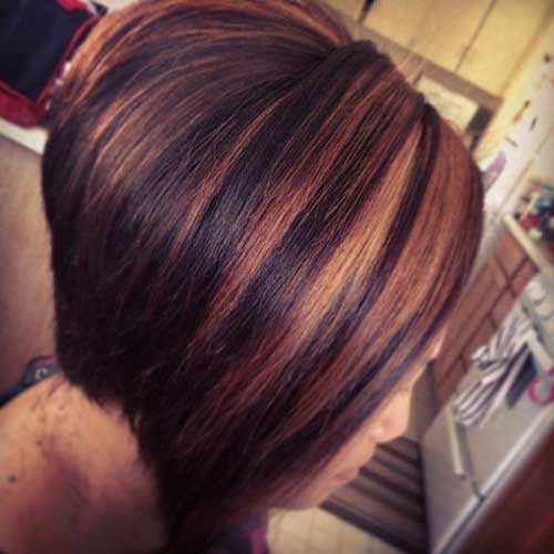 Nice Brunette Bob with Red Highlights