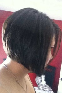 Dark Angled Layered Bob Hairstyles