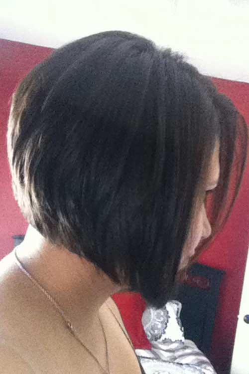 Dark Angled Layered Bob Hairstyles