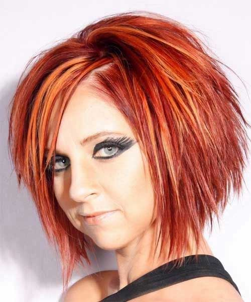 Red Funky Bob Haircuts